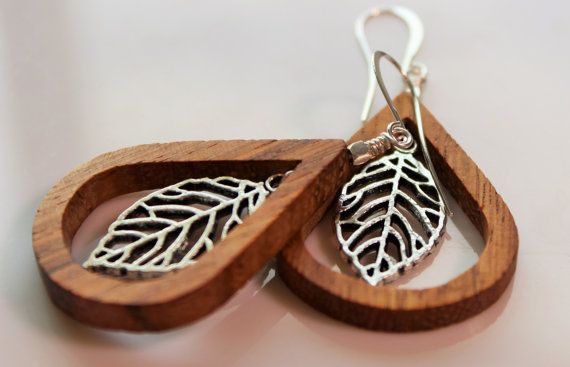Bayong wood teardrops with suspended silver  by OllieBooJewelry, $18.00  #craftyab