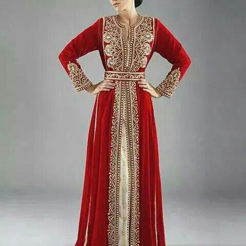 Red and gold kaftan