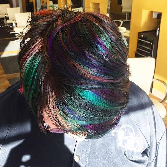 Peacock Pixie, short hair, fun and funky hair, fun colors, fashion colors, hair by shayna, raleigh nc, blo, inspiration, #justblo