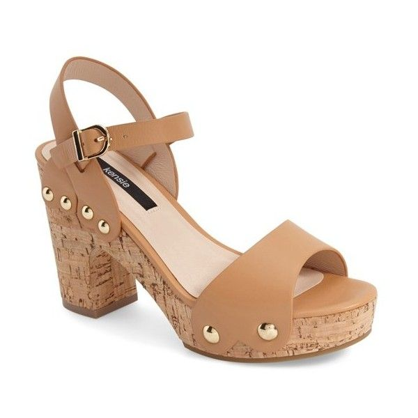 "kensie 'Belmont' Platform Clog Sandal, 4"" heel ($89) ❤ liked on Polyvore featuring shoes, tan leather, leather shoes, tan shoes, tan leather shoes, polish shoes and chunky shoes"