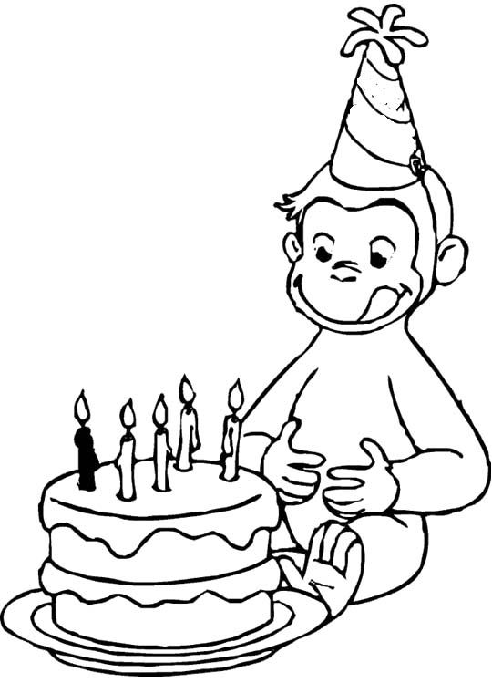Curious George Love Birtday Cake Coloring Pages Curious George