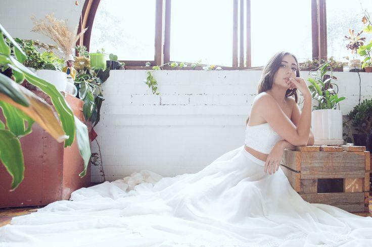 MONACO TWIN SET two piece wedding dress  beach wedding dress  lace trim bridal gown  white dress