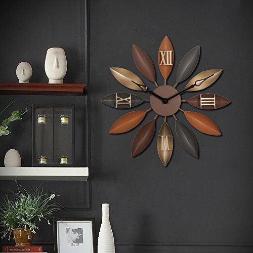 Unique large wall clocks are an easy way to bring life to a boring space.  In fact large modern wall clocks are extremely popular right now as not only do they look timeless but also serve as large decorative wall art!    Brandream Creative Large Wall Clock Decorative Silent Metal Wall Clocks