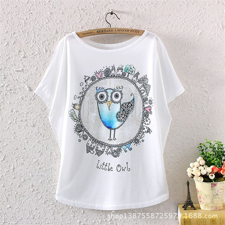 >> Click to Buy << 2017 female spring summer style women's cartoon little owl logo batwing sleeve lady T-shirt women Beautiful tees tops clothes #Affiliate