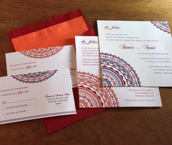 indian mandala wedding invitation