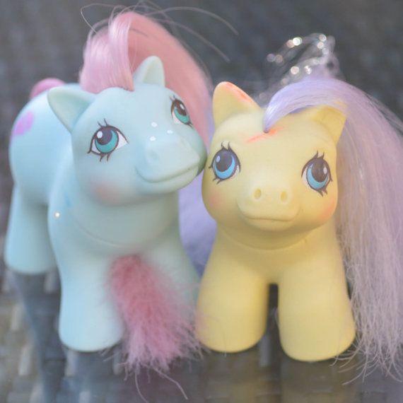 Vintage My Little Pony 'Baby Cuddles  Baby Bunkie' Yellow Blue Pegasus Earth - G1 - 1985 1987 - Rare - MLP - Nursery Newborn