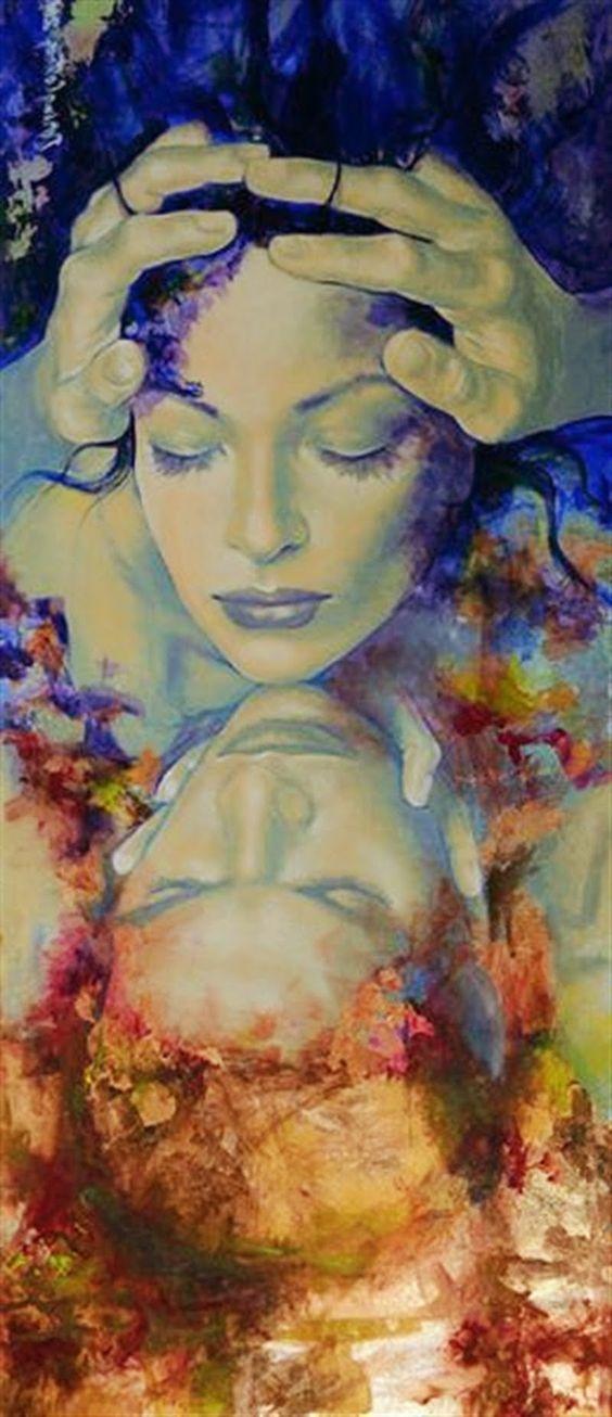 Non aver paura, sono io.. Non aver paura, sono io. Non senti che su te m'infrango con tutti i sensi? Ha messo ali il mio cuore e ora vola candido attorno al tuo viso. Non vedi la mia anima innanzi a te adorna di silenzio? E la mia preghiera di maggio non matura al tuo sguardo come su un albero? Se sogni, sono il tuo sogno ma se sei desto sono il tuo volere; padrone d'ogni splendore m'inarco, silenzio stellato, sulla bizzarra città del tempo. di Rainer Maria Rilke - dipinto di Dorina Costras
