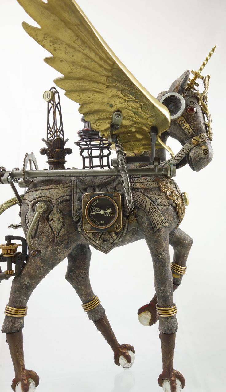 """""""Cavalique"""" Steampunk Horse Assemblage using antique and vintage parts by Larry Agnello at assemblique.com List of Materials: • Wood Horse • Four Antique Claw&Ball Feet • Antique Sewing Machine..."""