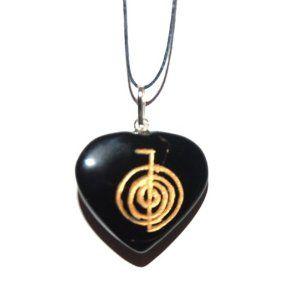 Usui Reiki Power Symbol Engraved Onyx Heart Crystal Pendant Cho Ku Rei Self Confidence