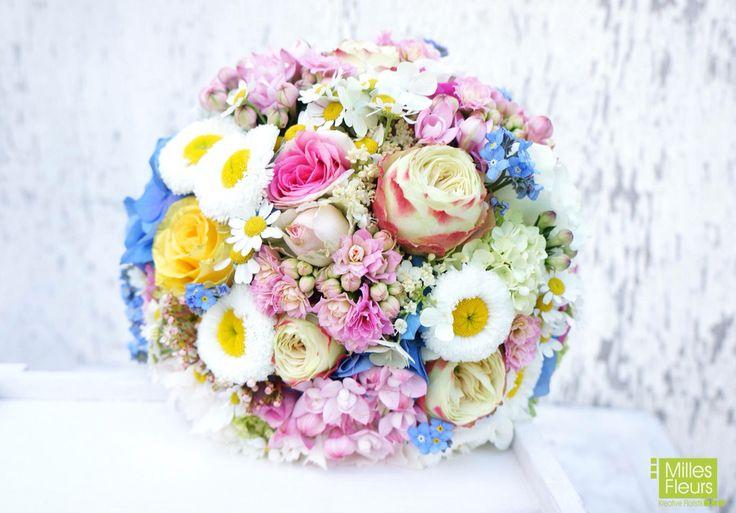 Milles Fleurs #wedding #Brautstrauss #Bellis #Frühling #pastell