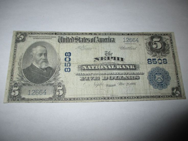 $5 1902 NEPHI UTAH UT NATIONAL CURRENCY BANK NOTE BILL! CH #8508 FINE! RARE