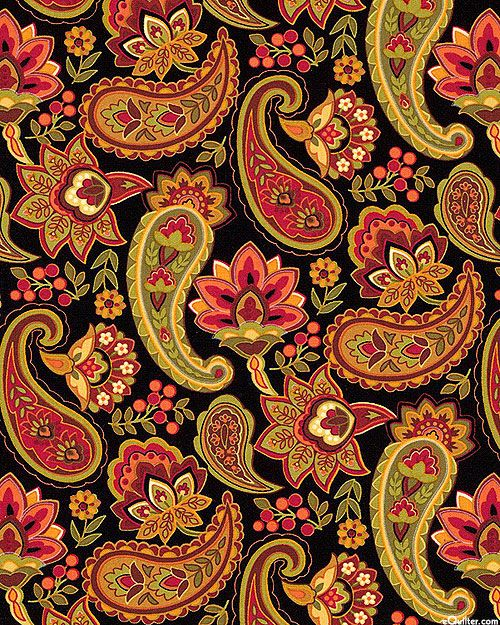eQuilter Marigold - Russian Paisley Harvest - Black