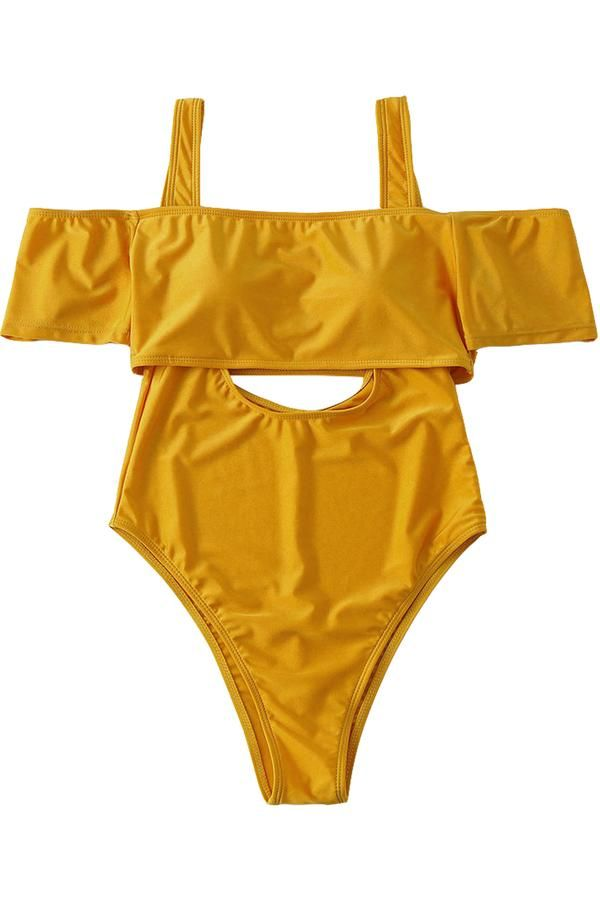 Yellow Off-shoulder Hollow Out One-piece Swimsuit