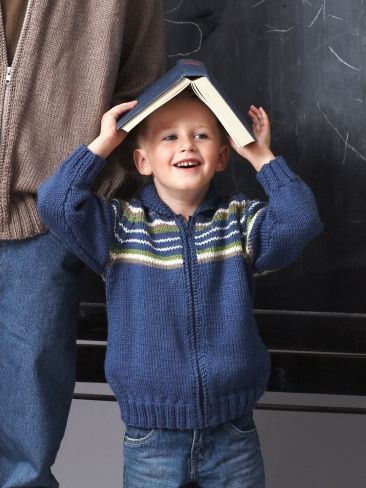 Free Pattern - The child's version of the unisex adult sweater, this also comes in solid and striped instructions. #knit