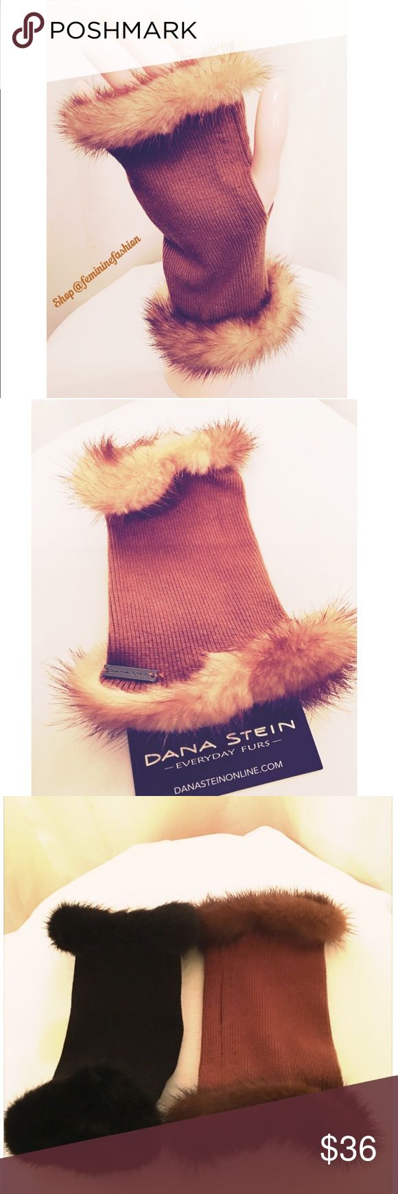 Camel Mink Trimmed Fingerless Gloves Glamorous Mink Trimmed Fingerless Gloves. Color is Whiskey...a shade of camel. Glove fabric is finely ribbed and has some stretch. Also available in black or brown in this closet. Truly elegant🌹 Dana Stein Accessories Gloves & Mittens