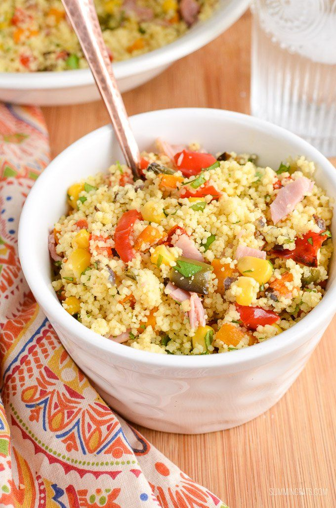 Syn Free Roasted vegetables and Ham couscous - sweet roasted peppers, onions, butternut squash and ham with fluffy couscous
