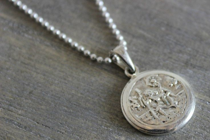 St Christopher Pendant Necklace in 925 Sterling Silver - 18 inches in length