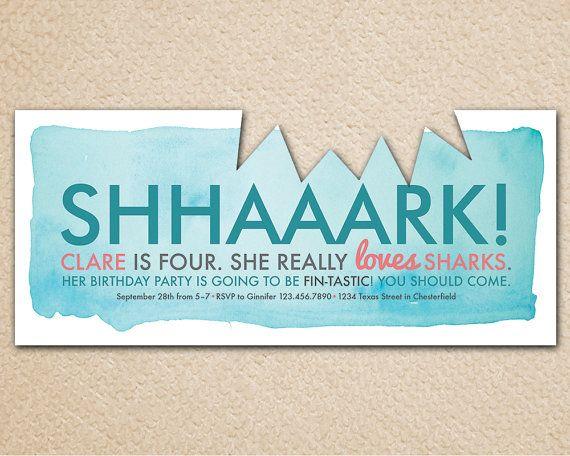 PRINTABLE Shark Birthday Party Invitation by InvitationToMars, $16.00