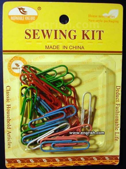 Sewing Kit made in China  So that's why these clothes never last long!