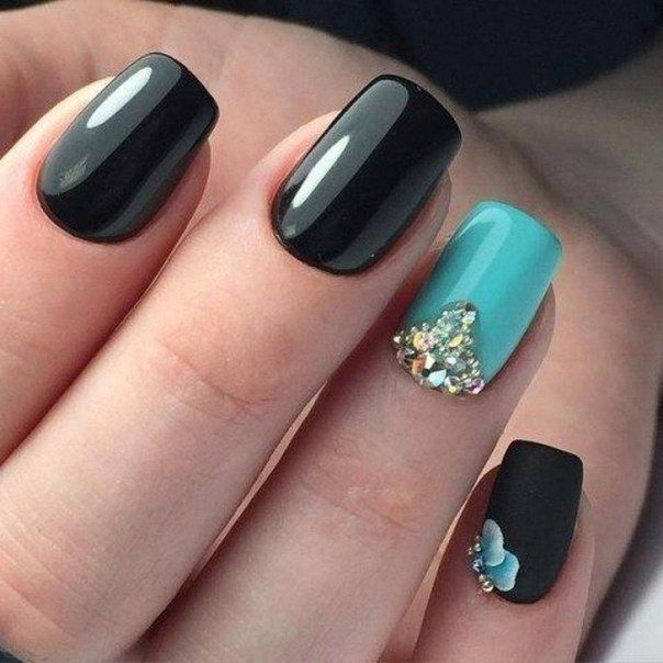 Beautiful Nails 2017 Black And Turquoise Classic Ideas Evening