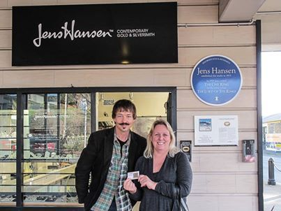 """Cheril Lindsay Barber winner of the World Premiere Pin from The Hobbit: An Unexpected Journey. Cheril visited us to say hello and collect her prize. — at Jens Hansen - Gold & Silversmith """"Makers of the World's Most Famous Ring""""."""