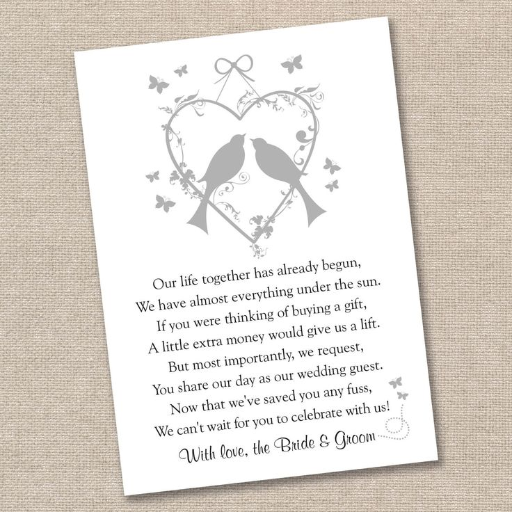 25 X Vintage Lovebirds Wedding Poem Cards For Your