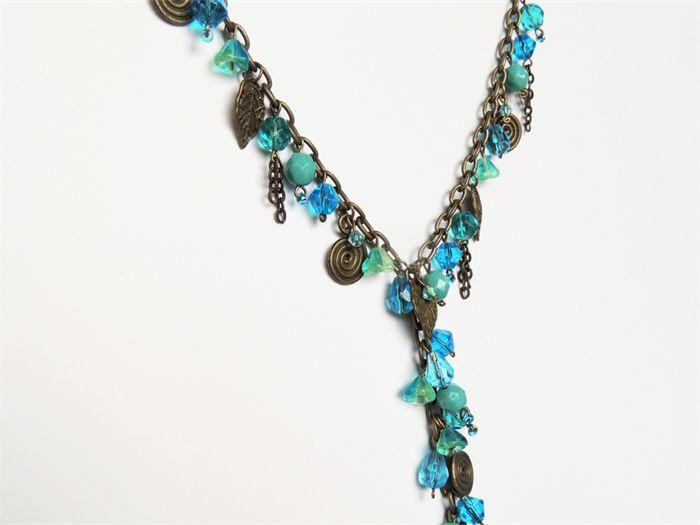 Turquoise, aqua and antique bronze necklace.