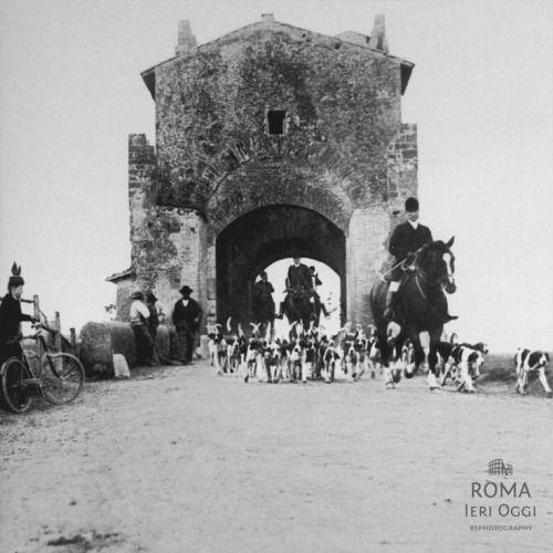 ROMA nell'Ottocento Ponte Nomentano , caccia alla volpe