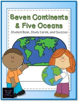 Seven Continents and Five Oceans - This is a student book created for classroom or homeschool use when studying the seven continents and five major oceans. It includes a cover page, label by number student maps, and pages picturing an outline of each of the seven continents where students are asked to label the continent and write three facts about it. $ #continents #oceans #geography