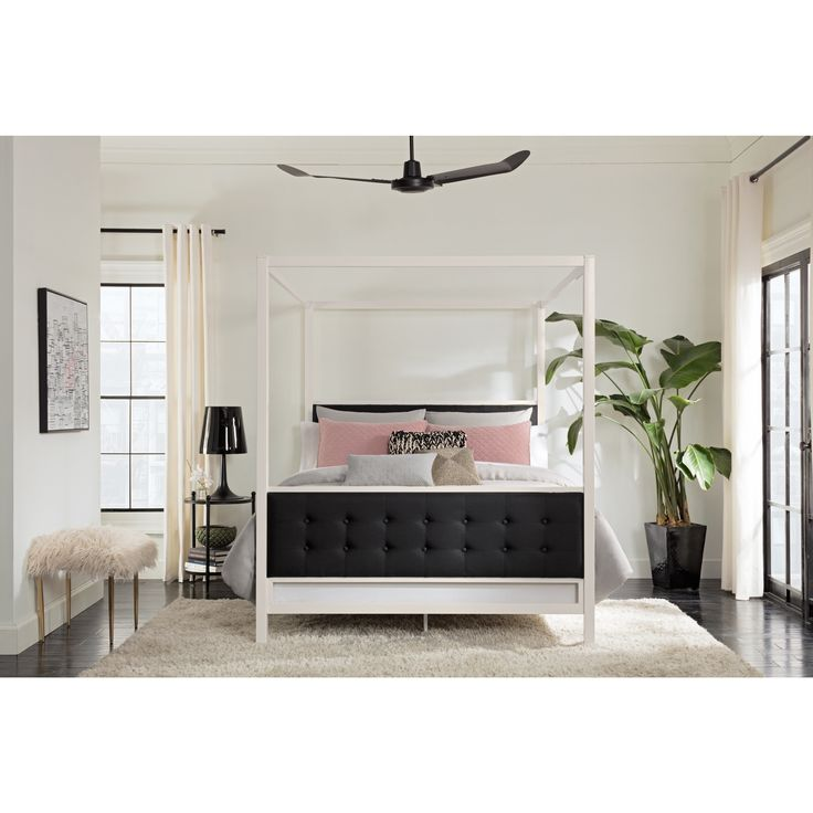 DHP Soho Modern White Metal with Black Linen Canopy Bed