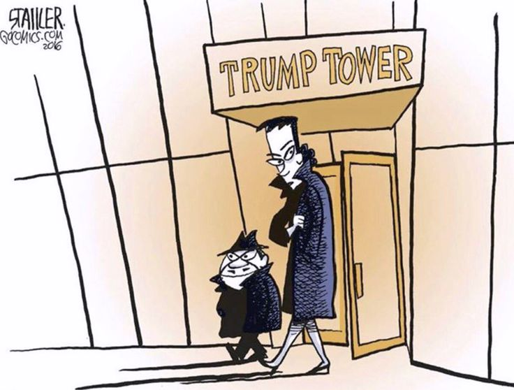 Cartoon showing Boris Badanov and Natasha Fatale leaving Trump Tower