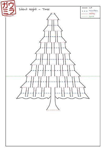 """Plantilla DIY - """"Tarjeta del árbol de Navidad Noche de Paz"""" Kirigami Pop-up escultura de papel"""