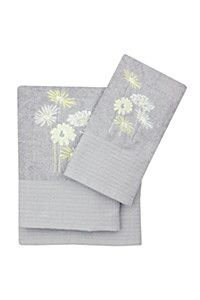 100% COTTON EMBROIDERED FLOWER TOWEL