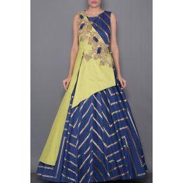 Blue & Green Zardosi Embroidered Silk Indo Western Gown-VF2646