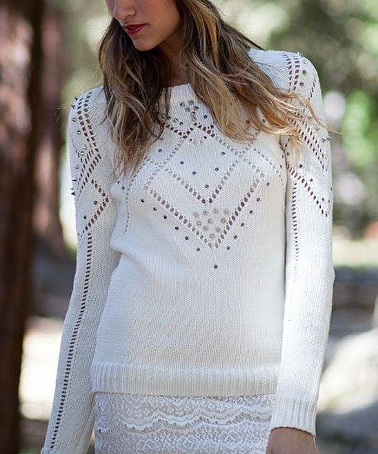 Ivory Embellished Sweater