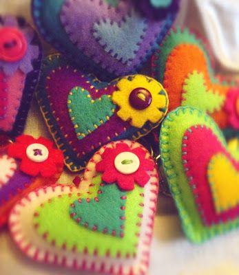 Bright coloured felt heart key chains/key rings