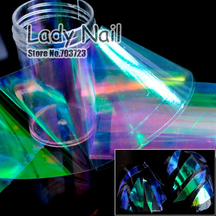 2016 New Nail Cut Off Piece Sticker Holographic Film Not Transfer Foil DIY Nails Tool Decorations Shiny Color Green Purple YC461