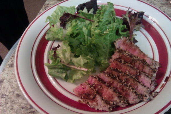 My pan seared tuna. It's crusted with sea salt, fresh cracked pepper ...