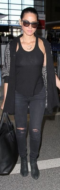 Who made Olivia Munn's black print cardigan sweater?