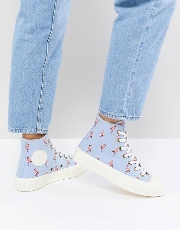 e64e21a0f8ec Converse Chuck Taylor All Star 70 Hi Trainers In Blue Embroidered Flamingos   ad  flamingo  converse  allstar  womens  fashion  style  spring  summer   2018