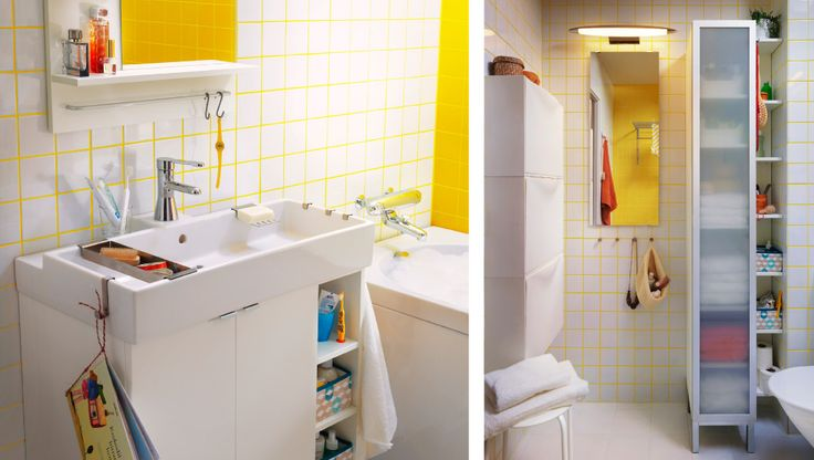 A tiny bathroom, complete with a sink, storage bins and cabinets like the sink but needs 2 faucets.