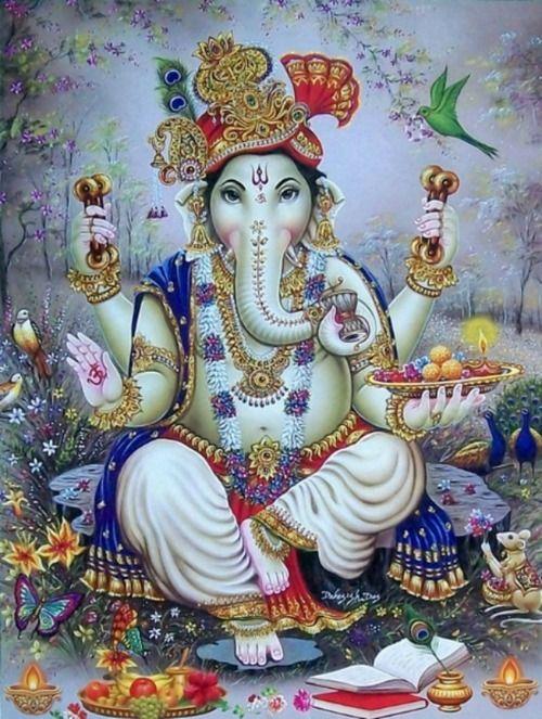 Ganesha é associado com o primeiro chakra, que representa o instinto de conservação e sobrevivência e de procriação. Ganesha é considerado a encarnação corporal do Cosmos inteiro.