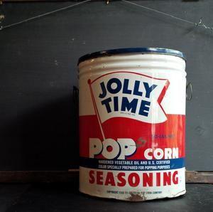 Vintage 1940s Popcorn Tin - Jolly Time Popcorn Seasoning 50lb Bulk