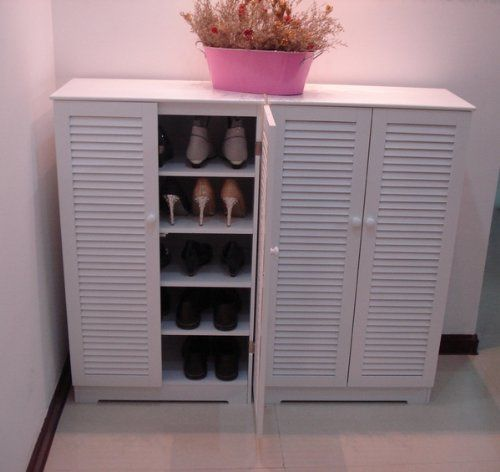 amazoncom wooden shoe cabinet with double louvered doors white hc