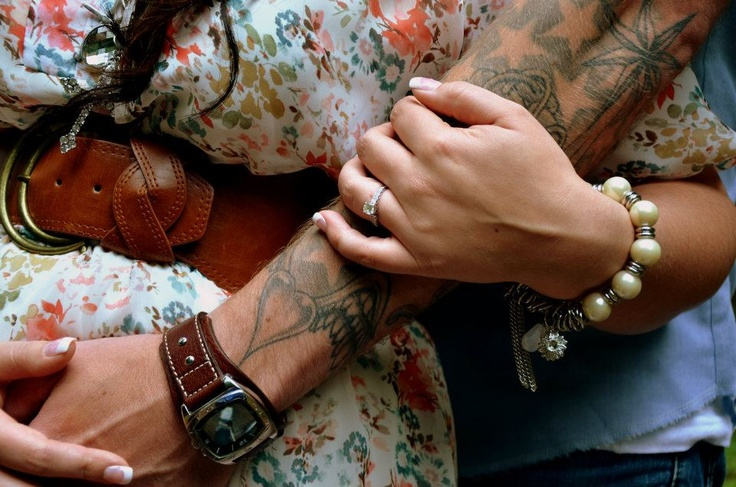 Jason and I's engagement Picture. Tattoo Love. (Picture done by Ashley Dawn Photography)