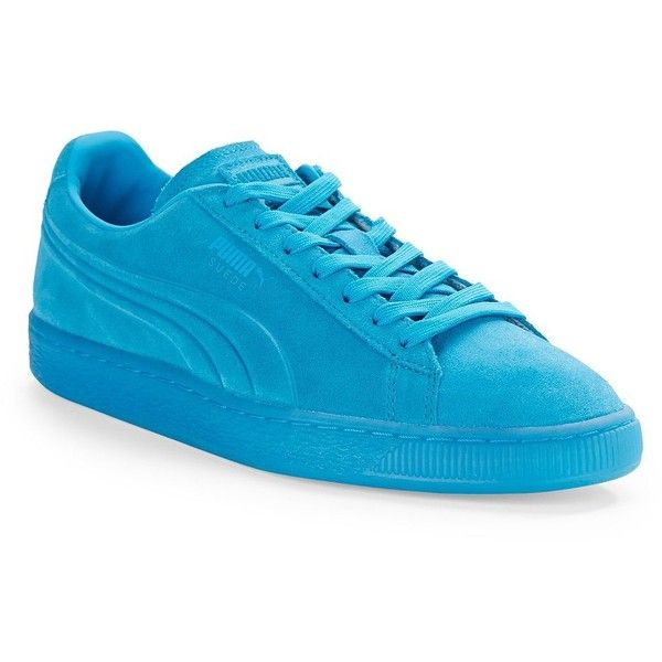 Puma Suede Emboss Iced Fluo Lace-Up Sneakers ($56) ❤ liked on Polyvore featuring men's fashion, men's shoes, men's sneakers, blue, mens suede lace up shoes, puma mens sneakers, mens blue sneakers, mens blue suede shoes and mens blue shoes