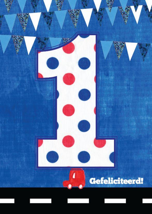Wat een geweldige verjaardagskaart voor een jongen van 1 jaar! Hip, lief en grappig met illustraties van een auto, stippen, vlaggetjes en grote 1.