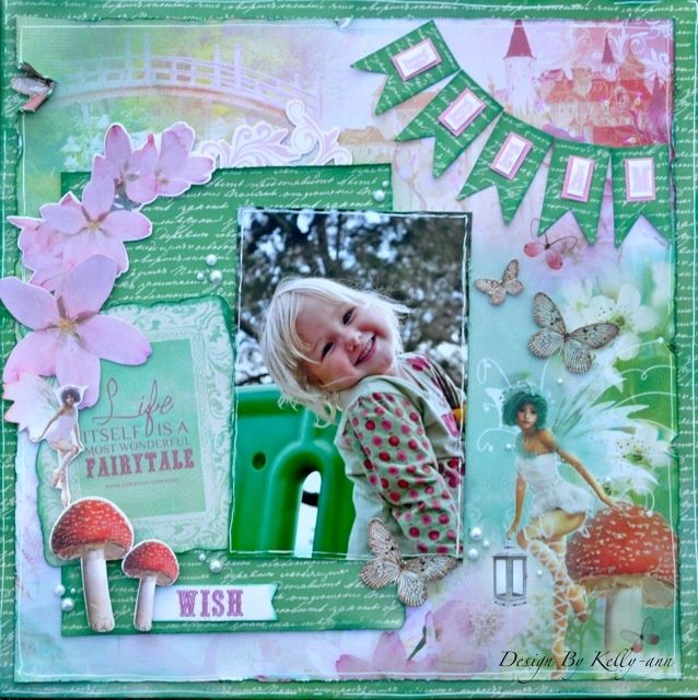 A whimsical layout made using the Enchanted Garden collection from Kaisercraft. By Kelly-ann Oosterbeek.