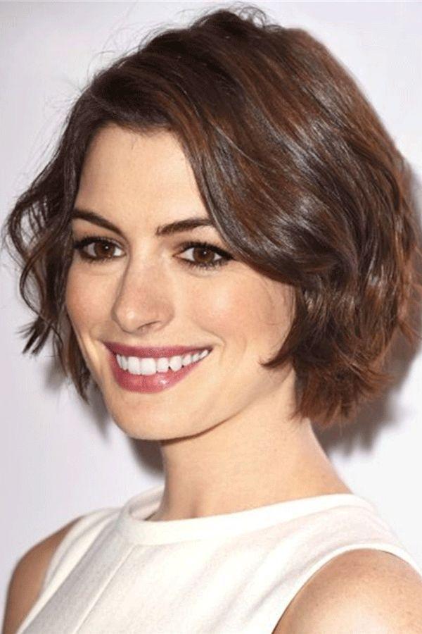 Anne Hathaway's Short Crop Hairstyle Wavy Human Hair Wig