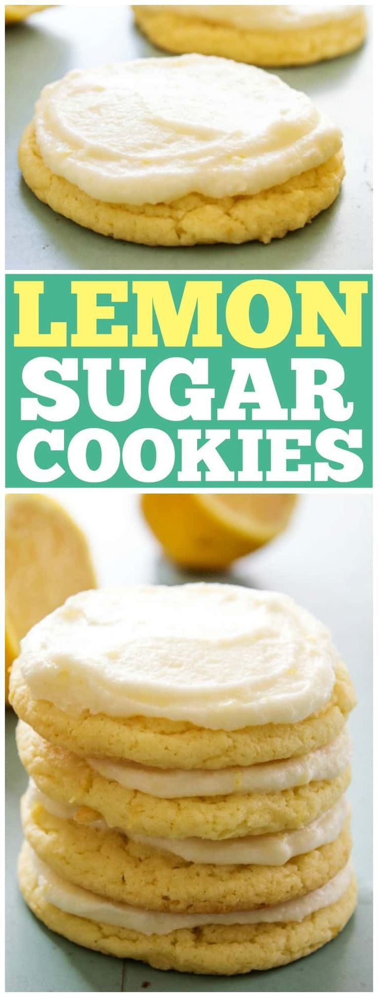 LEMON SUGAR COOKIES - A sweet & slightly tart twist on your classic sugar cookie. These soft & chewy lemon cookies will soon be a cookie jar favorite. #lemon #sugar #sugarcookies #adashofsanity